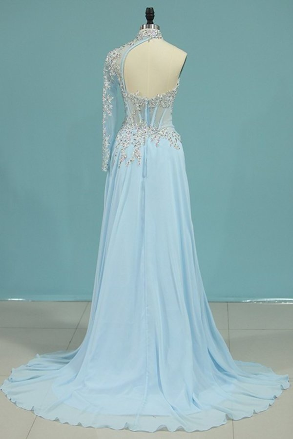 New Arrival High Neck Mermaid Prom Dresses Tulle With Applique