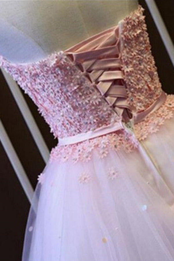 A Line Homecoming Dresses Sweetheart Tulle With P21MP2TG
