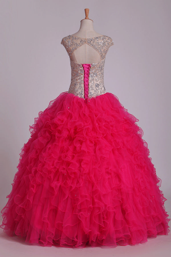 Ball Gown Straps With Beading Quinceanera Dresses Tulle Floor PMF2LLQE