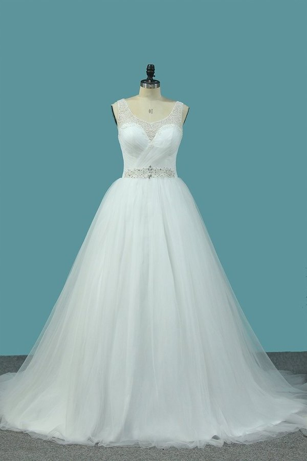 A Line Tulle V Neck With Beads And Ruffles Open Back P7DQ2GT6