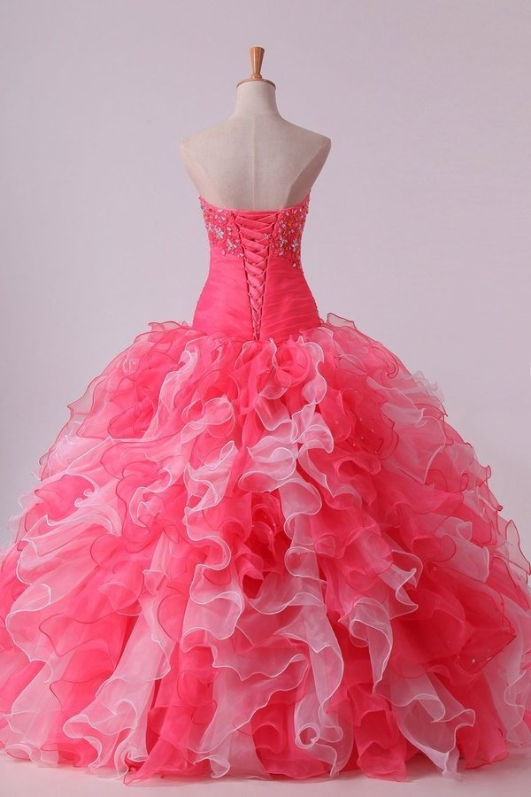 2020 Bicolor Ball Gown Quinceanera Dresses Sweetheart Pleated Bodice With Beads And P98QBEDD