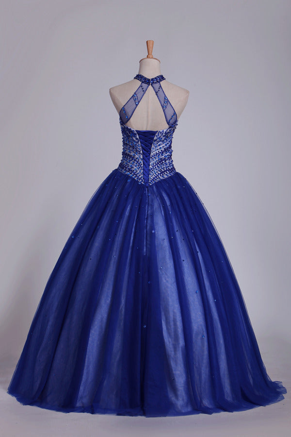 Dark Royal Blue Halter Quinceanera Dresses Ball Gown Tulle With Beads & PKMTYX9P
