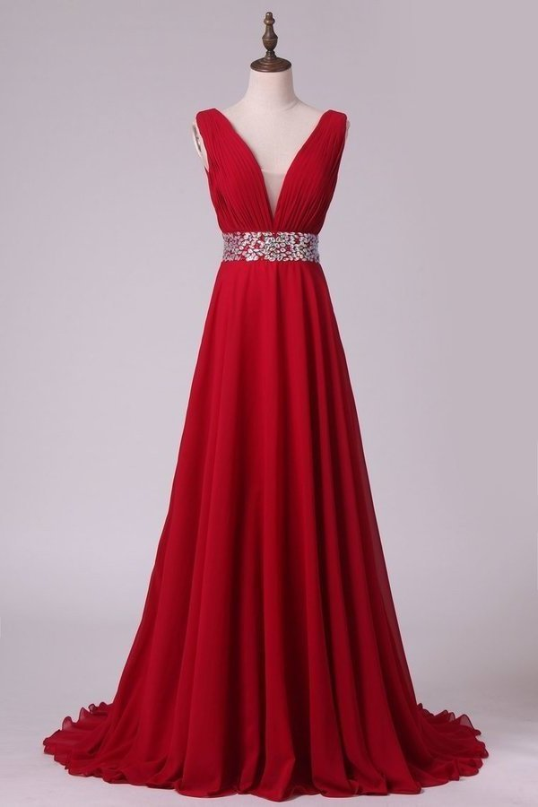 A Line V Neck Pleated Bodice Chiffon Prom Dresses With Beading Court P7E4S1Y1