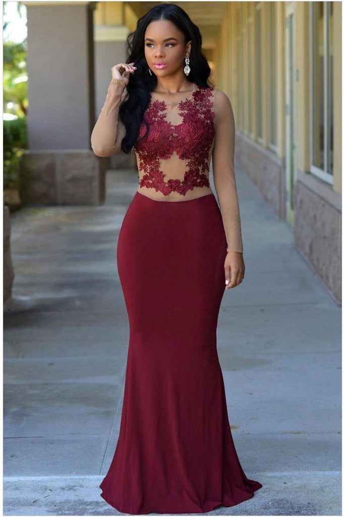 Jersey Scoop Neck Sexy Burgundy Mermaid Long Sleeves Zipper Appliques Prom Dresses