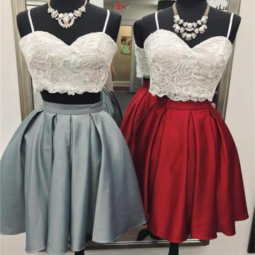 A Line Spaghetti Straps Sweetheart Lace Two Pieces Short Cocktail Homecoming Dresses