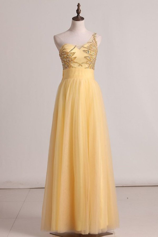 A Line One Shoulder Prom Dress Beaded Bodice Tulle Floor PGF3Z1BX
