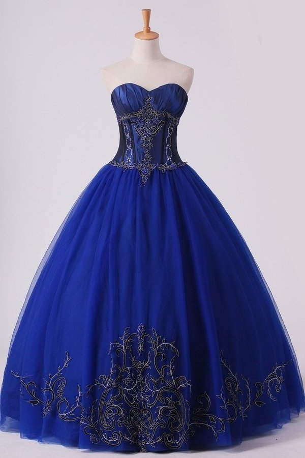 Dark Royal Blue Ball Gown Sweetheart Floor Length Quinceanera Dresses With PFFHCHGR