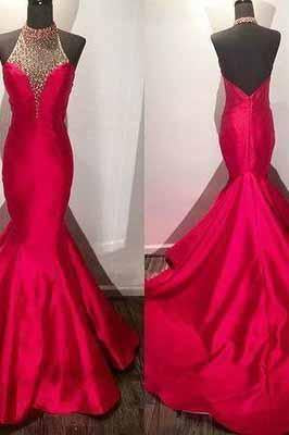 New Arrival Modest Beaded Halter Long Satin Fuchsia Mermaid Prom Dresses with Open Back