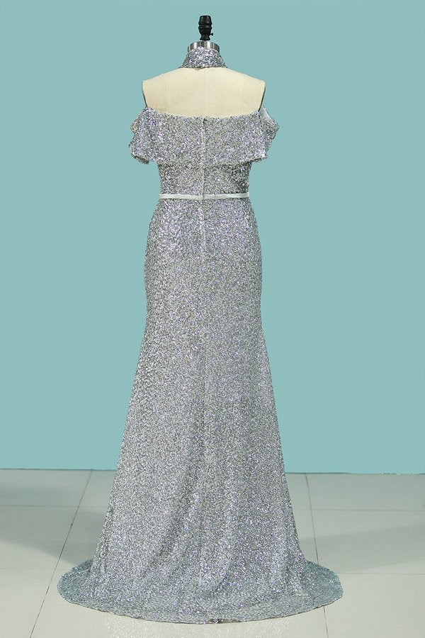 Boat Neck Prom Dresses Mermaid Sequins With Sash PJ4ALN5X