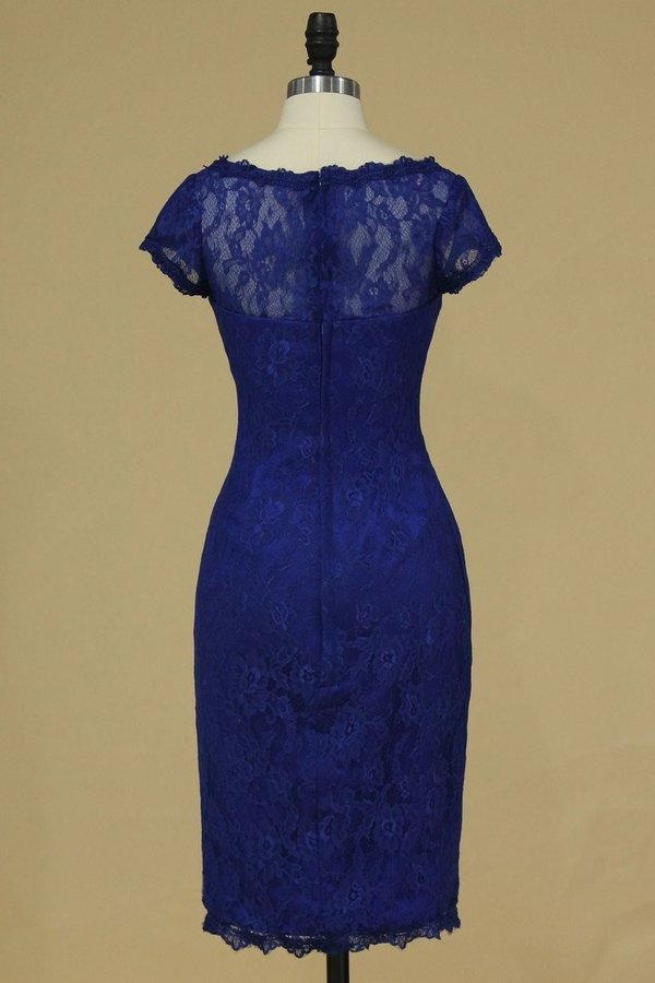 Dark Royal Blue Evening Dresses Off The Shoulder With Applique Lace PF1AZJ87