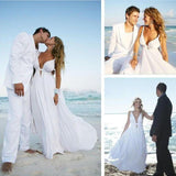 Sexy Deep V Neck White Chiffon Beach Elegant A-Line Bridal Floor-Length Wedding Dresses