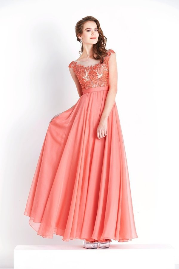 Chiffon & Lace Scoop Prom Dresses A Line With Beading Floor PYN1FZ3Q
