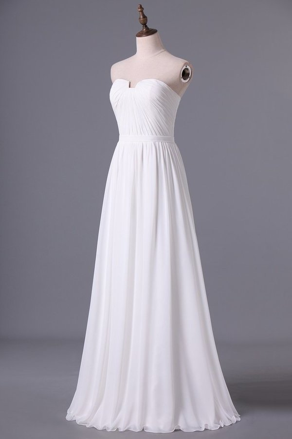 2020 Chic Prom Dresses Long A Line Strapless Chiffon Ivory Color Petite Size Under P4GPAN2F