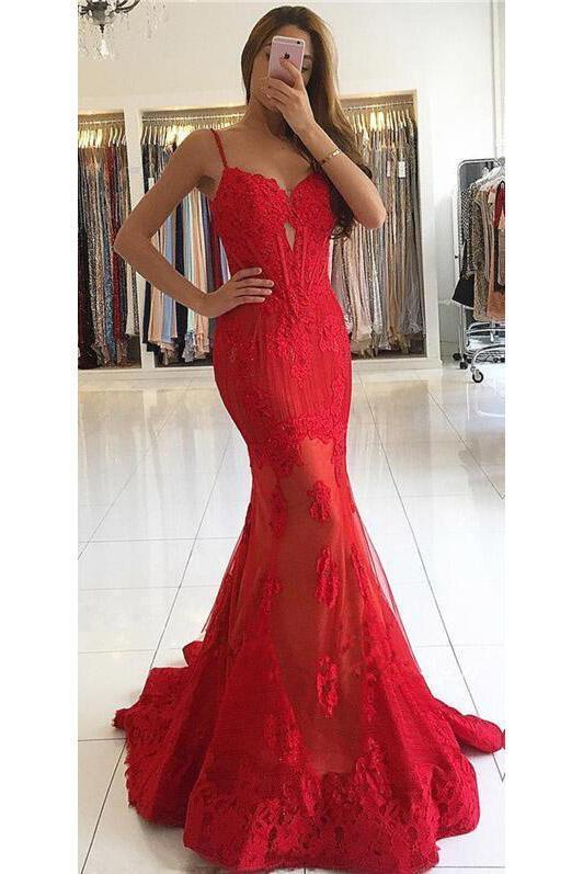 Charming Sexy Long Red Lace Cheap Mermaid Spaghetti Straps Sweetheart Prom Dresses