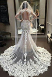 Vintage Long Sleeve Lace Open Back Floor-Length Mermaid Tulle White Wedding Dresses
