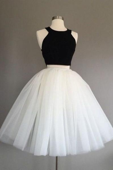White and Black Two Pieces Tulle Cute Tutu Party Dresses Homecoming Dress