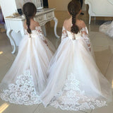 Princess A-Line Round Neck Tulle Long Sleeves Bowknot Flower Girl Dress with Appliques