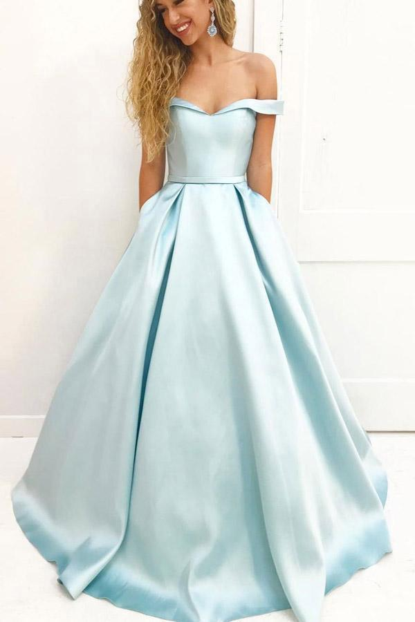 Light Blue A Line Brush Train Off Shoulder Sweetheart Sleeveless Prom Dresses
