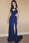 Sexy Royal Blue Chiffon Sleeveless Sweetheart Open Back Split Front Long Prom Dresses