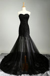 Sexy Black Sweetheart Sheath Tulle Beads Lace Appliques Strapless Long Prom Dresses