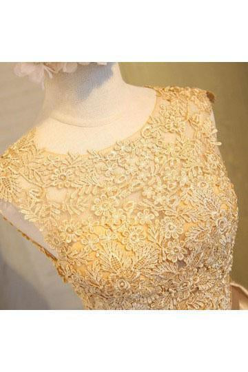 Light beads satins lace round neck homecoming dress