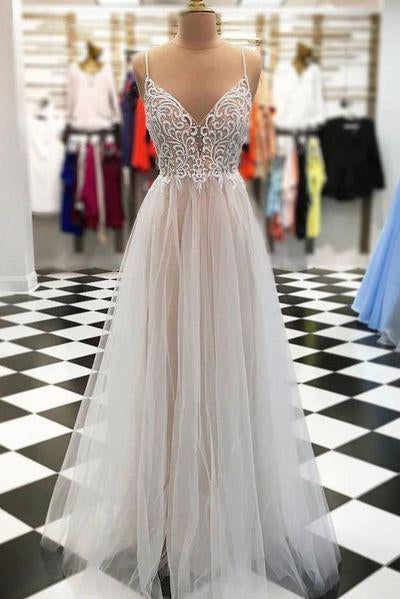 Sexy Spaghetti Straps Tulle V Neck Gray Long Beaded Sleeveless Prom Dresses