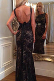 Long Prom Dresses Mermaid Scoop Neck Lace Beading Black Backless Evening Dress