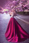 Romantic A-Line Jewel Rose Red Satin Round Neck Prom Dresses with Lace Appliques