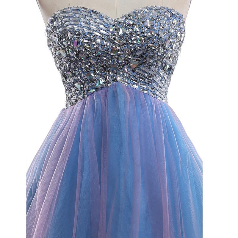 Strapless Cute Tulle Short Sweetheart Beading Blue Rhinestone Homecoming Dresses