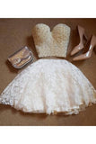 A-Line Two Pieces Sweetheart Short White Lace Knee Length Homecoming Dress with Pearls