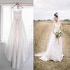 Vintage Country A-Line Spaghetti Strap V-Neck Clairvoryant Outfit Lace Back Satin Wedding Dress