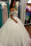 Wonderful Ball Gown Beaded Off the Shoulder Sweetheart Tulle White Wedding Dresses