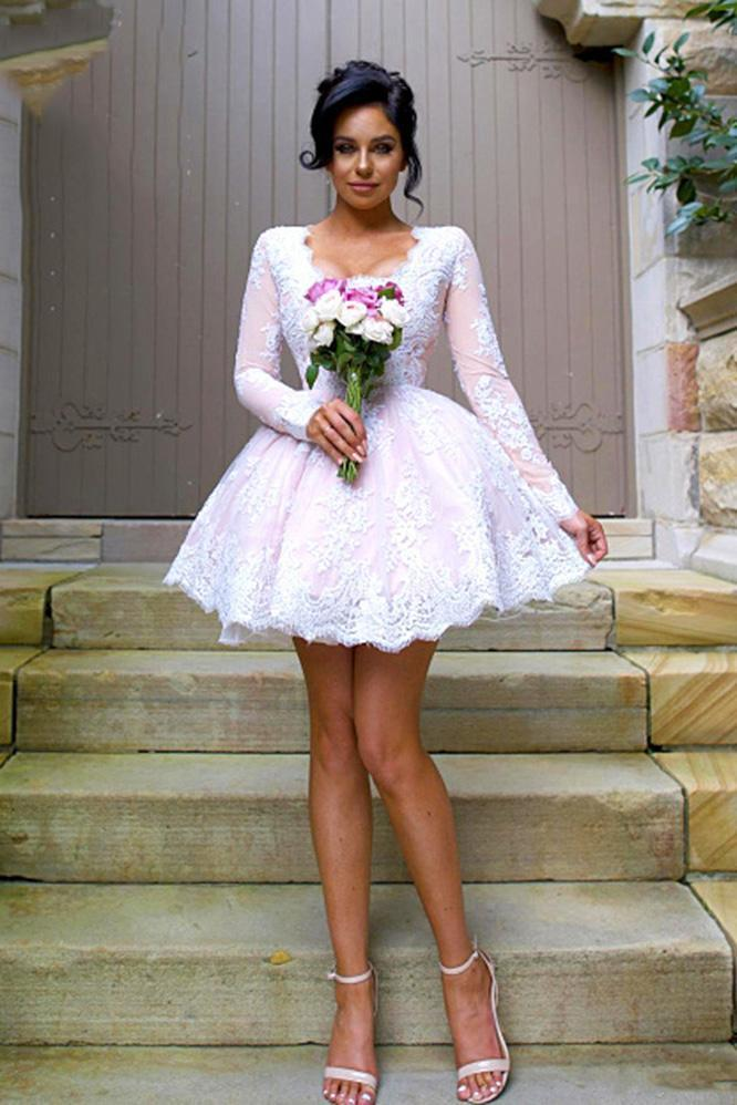 Mismatched Different Styles Pink Lace Appliques Bridesmaid Dresses Homecoming Dresses