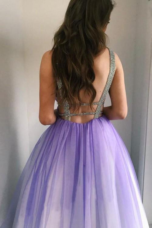 Ombre Open Back Deep V Neck Long Tulle Purple Backless Beading Prom Dresses