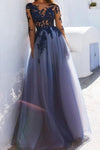 Sexy A-Line See Through Blue Lace Long Sleeve Open Back Appliques Long Prom Dresses