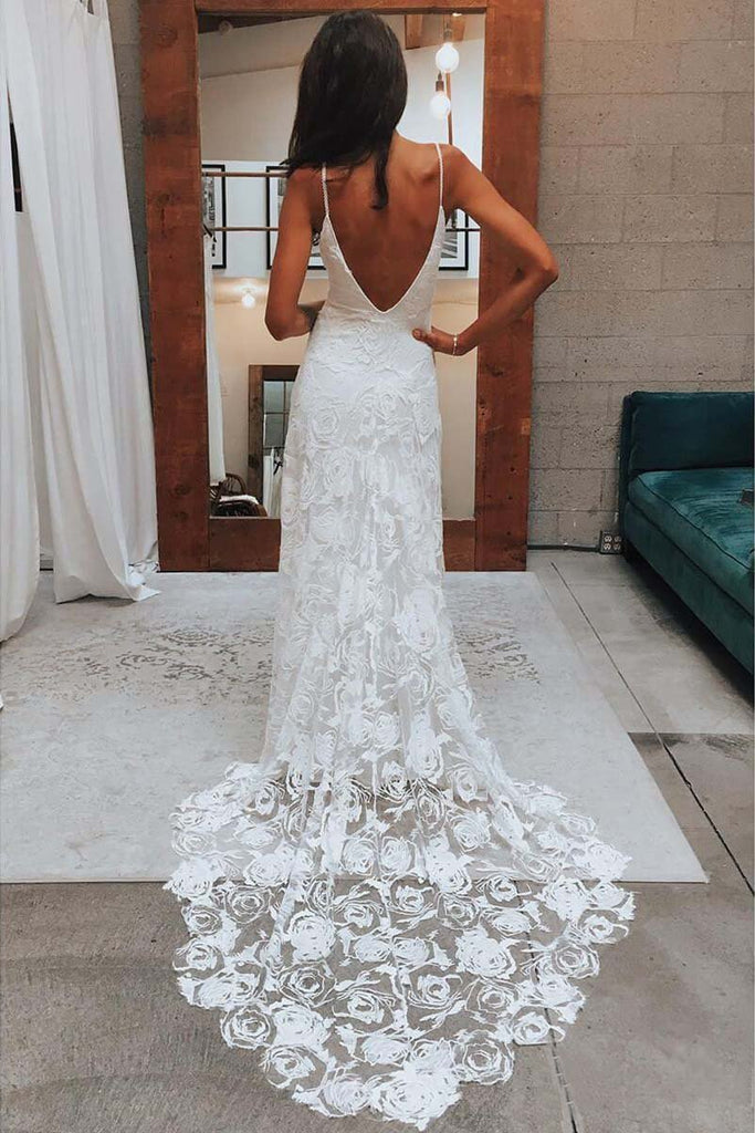 Rose Lace Sweetheart Boho Wedding Dresses Spaghetti Strap Beach Wedding Dresses