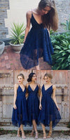 Navy Blue Deep V-neck Spaghetti Straps Sleeveless Asymmetry Lace A-line Bridesmaid Dress