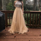 Long Custom High Neck Gray Sparkly Cocktail Evening Party Prom Dresses Online