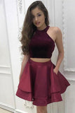 A-Line Two Pieces Scoop Short Satin Burgundy Halter Above Knee Homecoming Dress