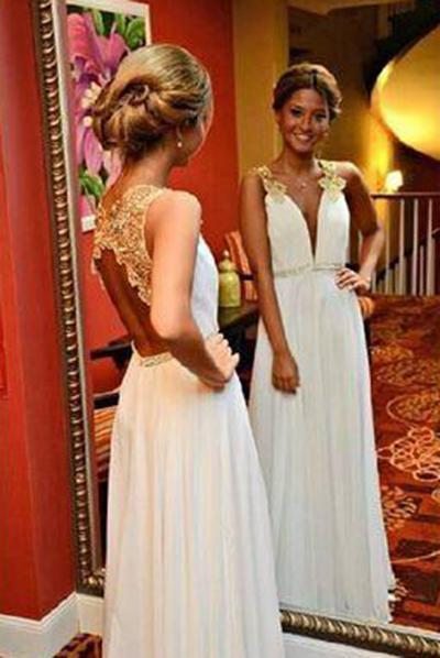 New Arrival Gold Lace Ivory Backless Long Open Back Deep V Neck Cheap Wedding Dresses