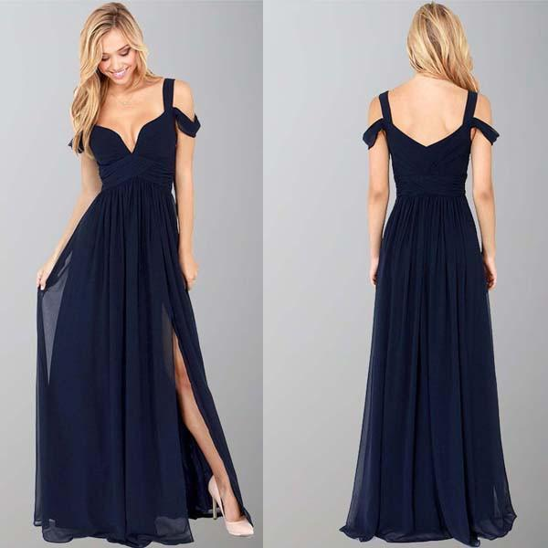 Navy Blue Off-The-Shoulder Long Chiffon Formal With Straps Sleeves Modest Bridesmaid Gown