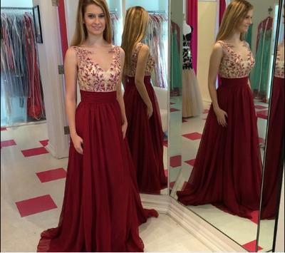Hot Sales Lace Chiffon Champagne V-Neck Open Back Long Cheap Wine Red Prom Dresses