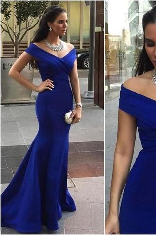 Pd01075 Charming Cap-Sleeves Mermaid Evening Dress Satin Noble Pleat Prom Dresses