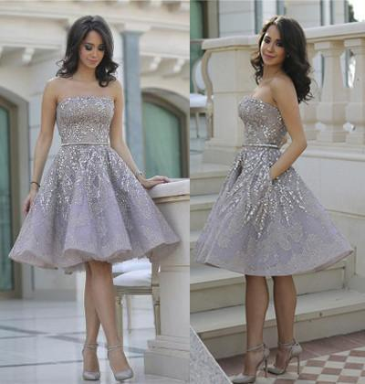Short Gorgeous Strapless Popular Sparkly Unique Knee-Length Homecoming Dresses