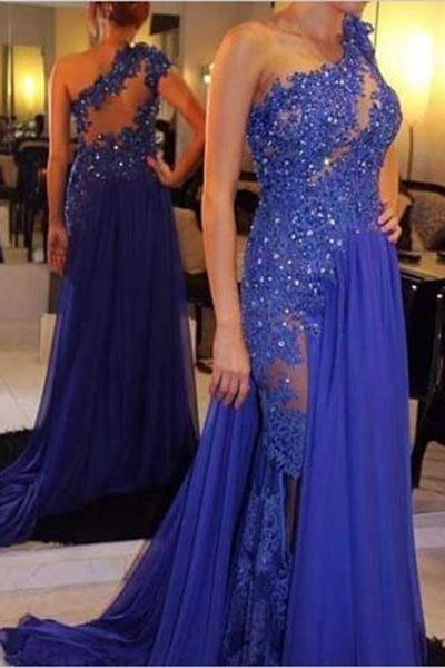 One Shoulder A-Line Long Cheap Prom Dresses Royal Blue Evening Dress Prom Gowns