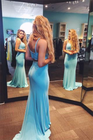 Two Pieces Sexy Long Charming Green Mermaid Sweetheart Evening Dress Prom Dresses