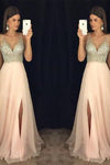 Modest sparkly crystal beaded v-neck open back long chiffon pageant slit Prom Dresses