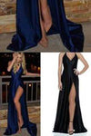 Royal Blue Long Cheap Slit Satin Deep V-Neck Sleeveless Floor-Length Prom Dresses