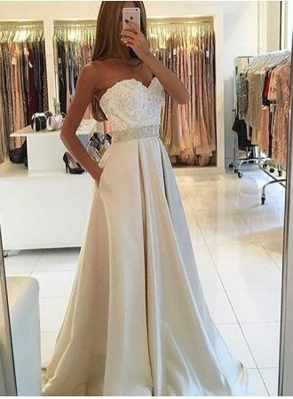New Arrival Appliques Sleeveless Strapless Sweetheart Pockets A-Line Long Evening Dresses