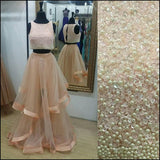 Pretty Two Pieces Beading Tulle Prom Dresses Beads Prom Gowns Cheap Prom Dress